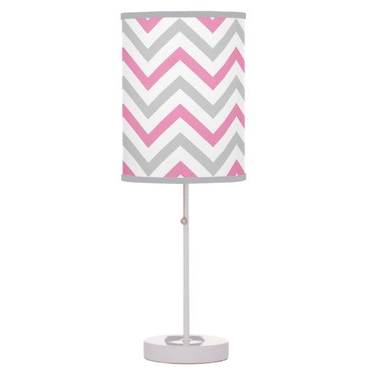Bubblegum Pink, Grey and White Chevron Pattern Table Lamp