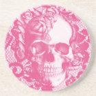 Bubblegum Pink rose skull on lace Coaster