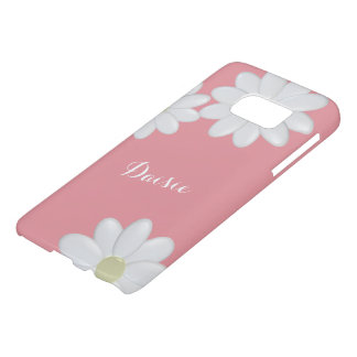 Bubblegum Pink White Daisy Flowers Personalized S7 Samsung Galaxy S7 Case