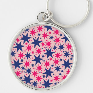 Bubblegum Stars, Pink & Navy, graphics design Keychain