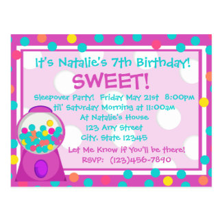 Bubblegum Treat Invitation Postcard