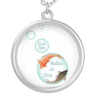 Bubbles and Zen Round Pendant Necklace