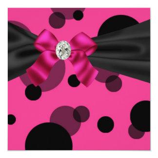 "Bubbles Black Tie Party Pink Black Party 5.25"" Square Invitation Card"