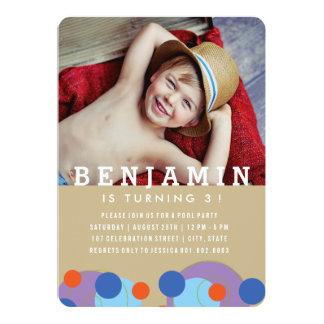Bubbles Blue Dots Kids Boy Photo Birthday Invite