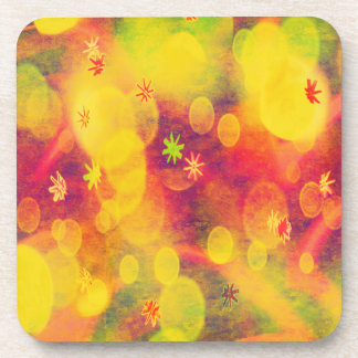 Bubbles & Flowers in Yellow Drink Coasters