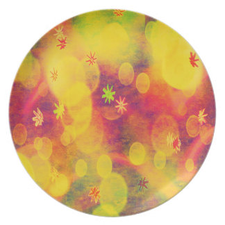 Bubbles & Flowers in Yellow Plate