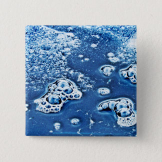 Bubbles Ice Water Blue Abstract Button