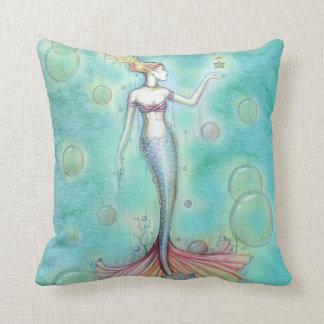 Bubbles Mermaid Throw Pillow