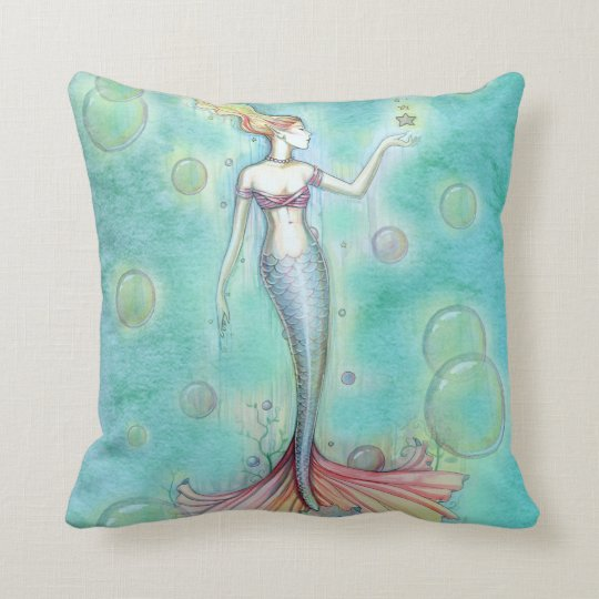 Bubbles Mermaid Throw Pillow