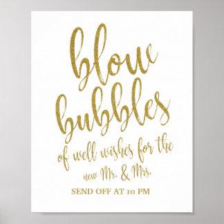 Bubbles Send Off Gold Glitter 8x10 Wedding Sign