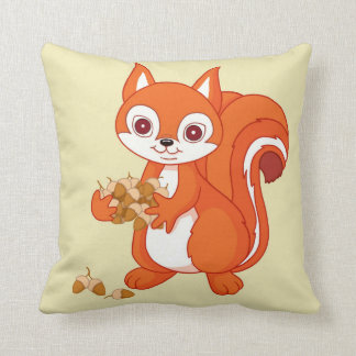 Bubbles the Helpful Squirrel Throw Pillow