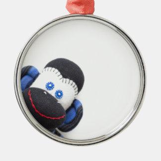 Bubbles the sock monkey Silver-Colored round ornament