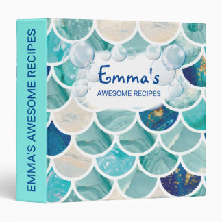 Bubbly Aqua turquoise marble mermaid fish scales 3 Ring Binder