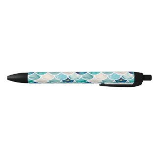 Bubbly Aqua turquoise marble mermaid fish scales Black Ink Pen