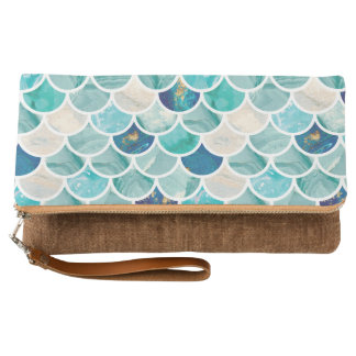 Bubbly Aqua turquoise marble mermaid fish scales Clutch