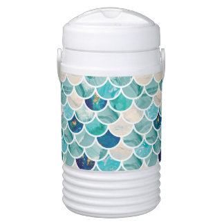 Bubbly Aqua turquoise marble mermaid fish scales Cooler