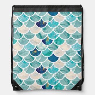 Bubbly Aqua turquoise marble mermaid fish scales Drawstring Bag