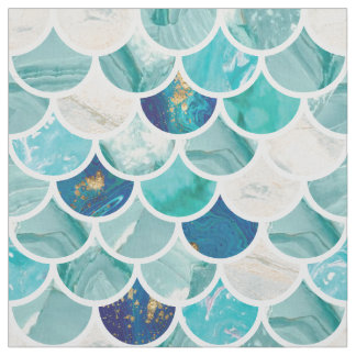 Bubbly Aqua turquoise marble mermaid fish scales Fabric