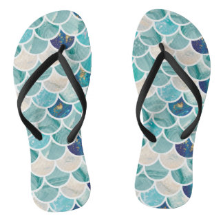 Bubbly Aqua turquoise marble mermaid fish scales Flip Flops