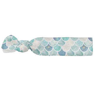 Bubbly Aqua turquoise marble mermaid fish scales Hair Tie