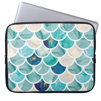 Bubbly Aqua turquoise marble mermaid fish scales Laptop Sleeve