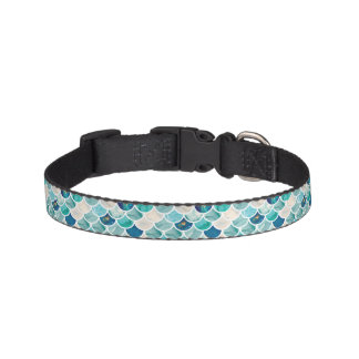 Bubbly Aqua turquoise marble mermaid fish scales Pet Collars