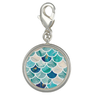 Bubbly Aqua turquoise marble mermaid fish scales Photo Charm