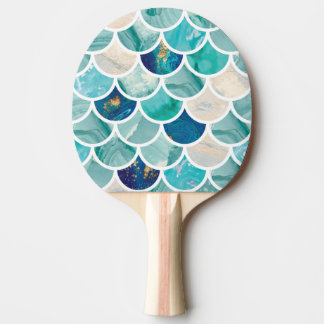 Bubbly Aqua turquoise marble mermaid fish scales Ping Pong Paddle
