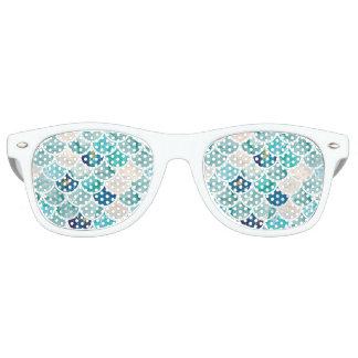 Bubbly Aqua turquoise marble mermaid fish scales Retro Sunglasses