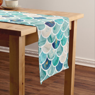 Bubbly Aqua turquoise marble mermaid fish scales Short Table Runner