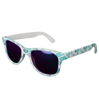 Bubbly Aqua turquoise marble mermaid fish scales Sunglasses