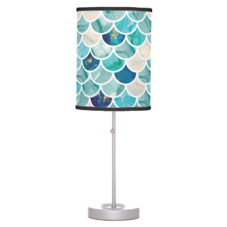 Bubbly Aqua turquoise marble mermaid fish scales Table Lamp