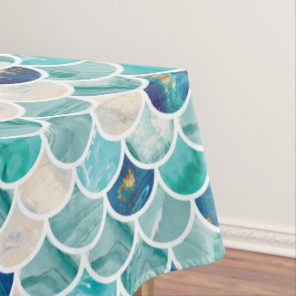 Bubbly Aqua turquoise marble mermaid fish scales Tablecloth