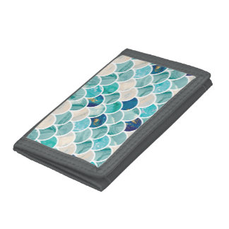 Bubbly Aqua turquoise marble mermaid fish scales Trifold Wallet
