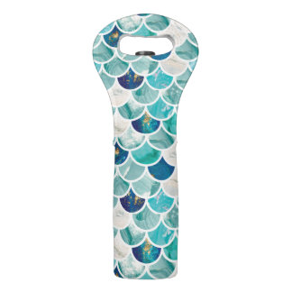 Bubbly Aqua turquoise marble mermaid fish scales Wine Bag