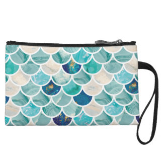 Bubbly Aqua turquoise marble mermaid fish scales Wristlet