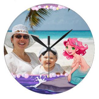 Bubbly beach summer cartoon mermaid photo frame large clock