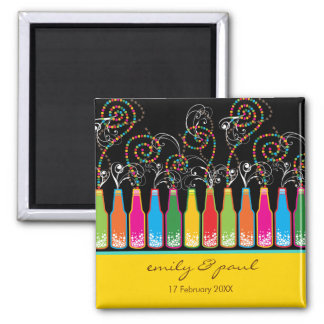 Bubbly Bottles Celebrations! Save The Date Wedding Square Magnet