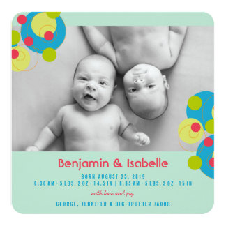 Bubbly Circles Baby Twins Photo Birth Announcement