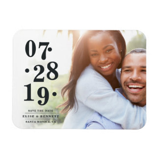 Bubbly Date | Photo Save the Date Rectangular Photo Magnet