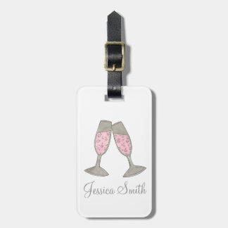 Bubbly Pink Champagne Personalized Luggage Tag