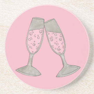 Bubbly Pink Champagne Toast Cheers Celebration Coaster
