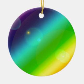 Bubbly Rainbow Round Ceramic Ornament