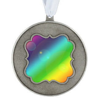 Bubbly Rainbow Scalloped Pewter Ornament