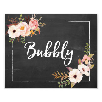 Bubbly Rustic Chalkboard Floral Wedding Sign Photo Art