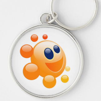 BUBBLY SUN Silver-Colored ROUND KEYCHAIN