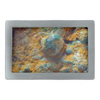 Bubbly Turquoise with Rusty Dust Rectangular Belt Buckle