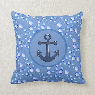 Bubbly Waters Anchor Throw Pillow