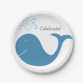Bubbly Whale Celebration Paper Plate