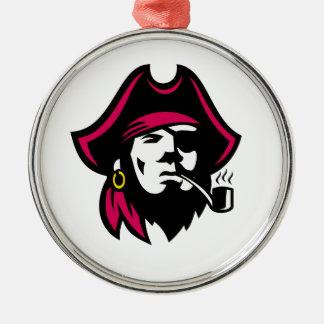 Buccaneer Smoking Pipe Retro Metal Ornament
